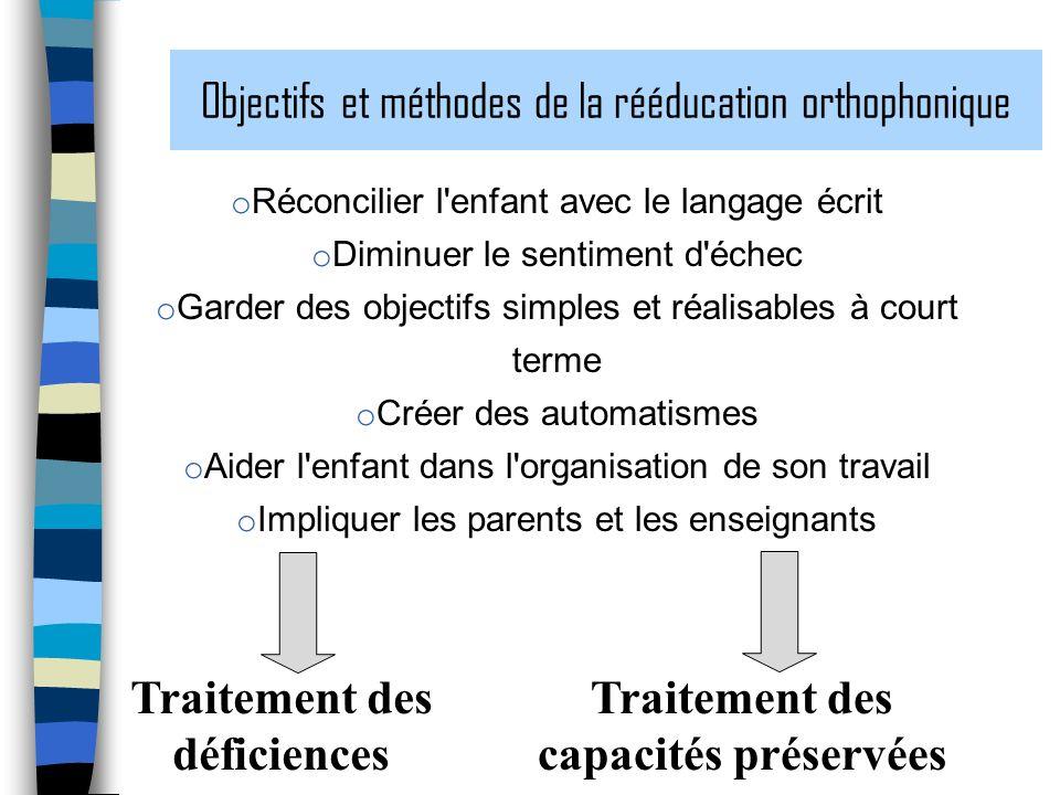 Objectifs et méthodes de la rééducation orthophonique o Réconcilier l'enfant avec le langage écrit o Diminuer le sentiment d'échec o Garder des object