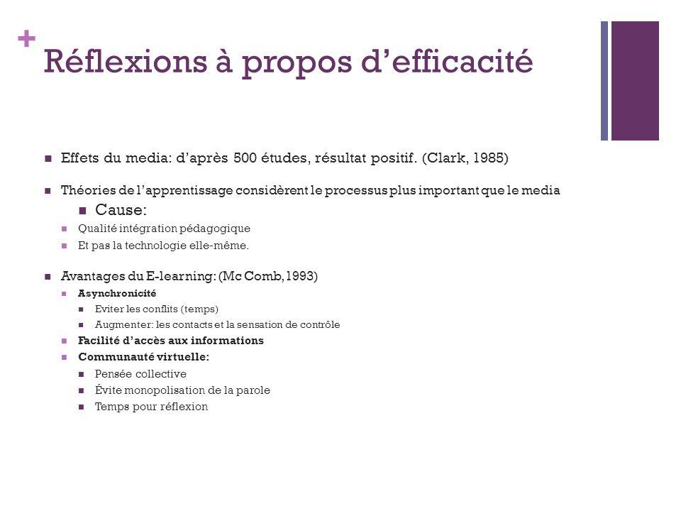 + Réflexions à propos defficacité (suite) Formations diplômantes; comment évaluer compétences acquises.