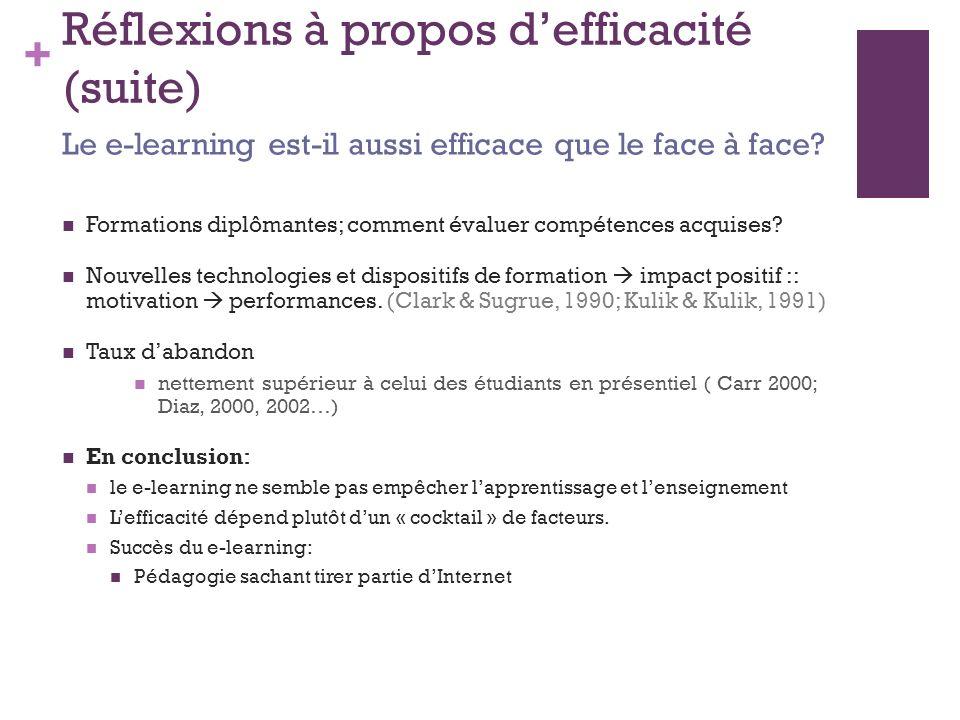 + Bibliographie Education et technologies de l information : des influences réciproques http://txtnet.com/ote/text0020.htmhttp://txtnet.com/ote/text0020.htm Fenouillet, F., & Dero, M.