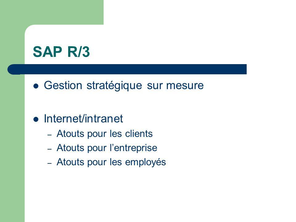 SAP R/3 Gestion stratégique sur mesure Internet/intranet – Atouts pour les clients – Atouts pour lentreprise – Atouts pour les employés