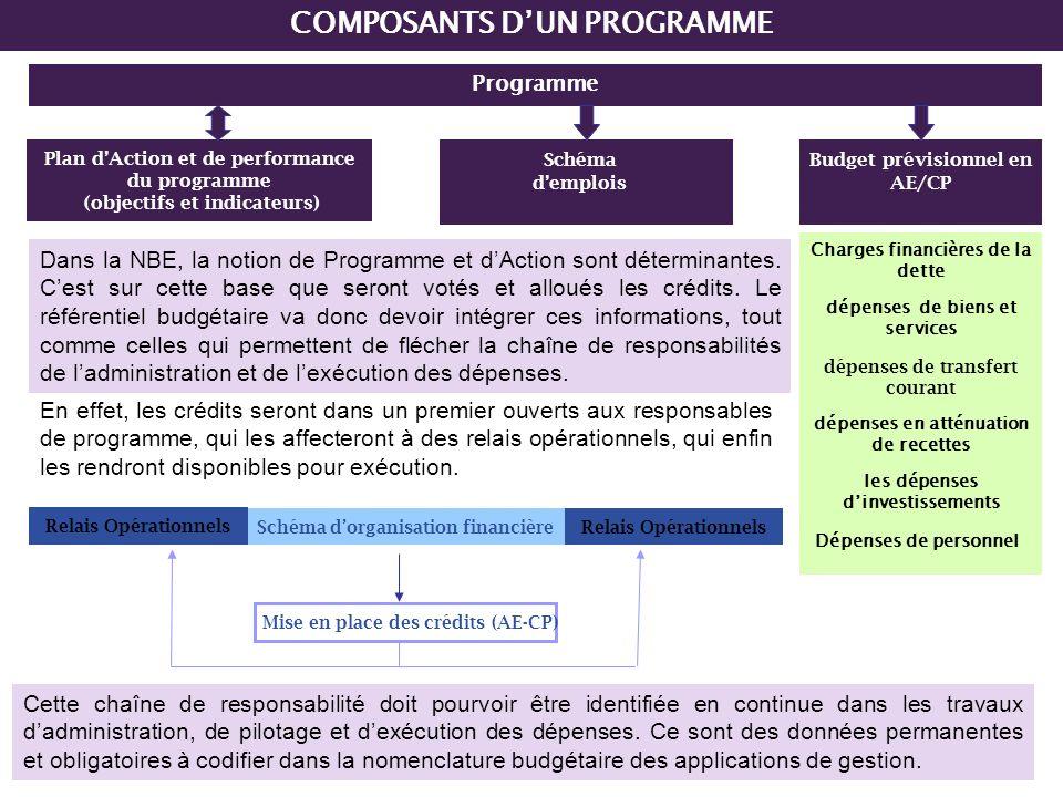 11 Programme Plan dAction et de performance du programme (objectifs et indicateurs) Schéma demplois Dépenses de personnel Charges financières de la de