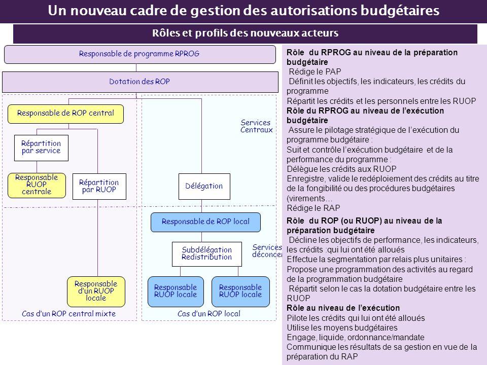 Rôles et profils des nouveaux acteurs Un nouveau cadre de gestion des autorisations budgétaires Cas dun ROP central mixte Cas dun ROP local Responsabl