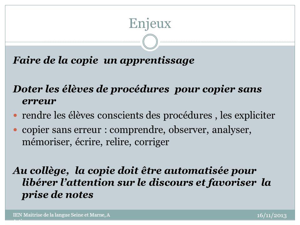 Enjeux Faire de la copie un apprentissage Doter les élèves de procédures pour copier sans erreur rendre les élèves conscients des procédures, les expl