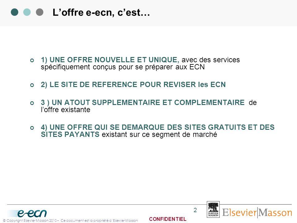 © Copyright Elsevier Masson 2010 – Ce document est la propriété dElsevier Masson CONFIDENTIEL 2 Loffre e-ecn, cest… 1) UNE OFFRE NOUVELLE ET UNIQUE, a