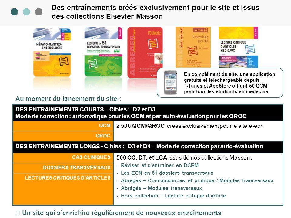 © Copyright Elsevier Masson 2010 – Ce document est la propriété dElsevier Masson CONFIDENTIEL 3 Des entraînements créés exclusivement pour le site et