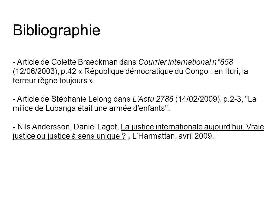 Bibliographie - Article de Colette Braeckman dans Courrier international n°658 (12/06/2003), p.42 « République démocratique du Congo : en Ituri, la te