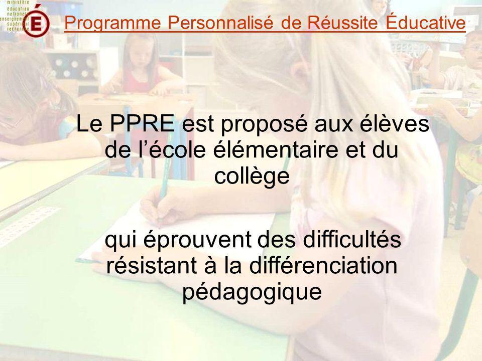 Le PPRE est proposé aux élèves de lécole élémentaire et du collège qui éprouvent des difficultés résistant à la différenciation pédagogique Programme