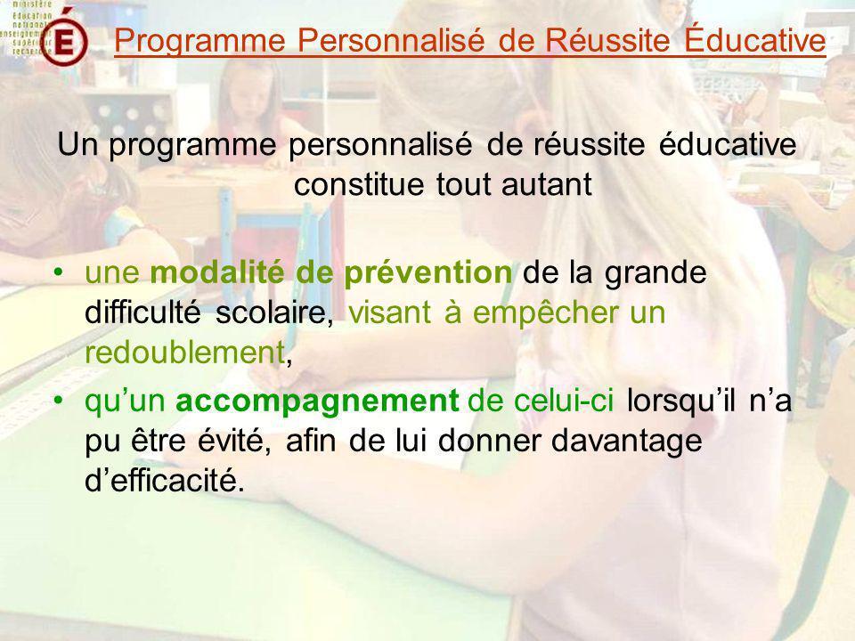 Un travail en quatre temps le repérage des élèves la définition des programmes la mise en œuvre des programmes lévaluation des effets de chaque programme Programme Personnalisé de Réussite Éducative