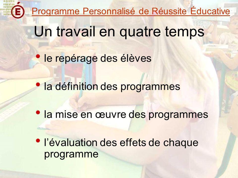 Un travail en quatre temps le repérage des élèves la définition des programmes la mise en œuvre des programmes lévaluation des effets de chaque progra