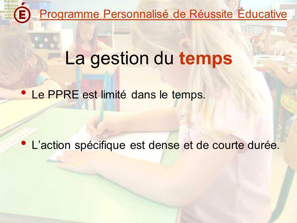 La gestion du temps Le PPRE est limité dans le temps. Laction spécifique est dense et de courte durée. Programme Personnalisé de Réussite Éducative