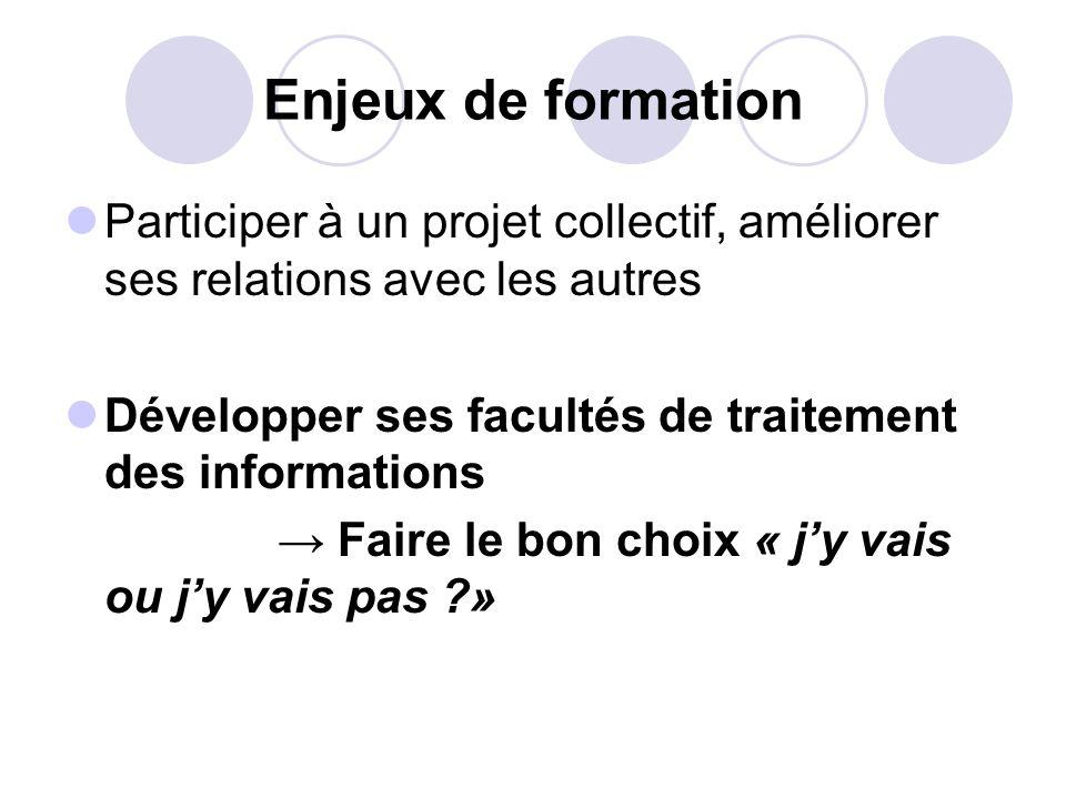 Enjeux de formation Participer à un projet collectif, améliorer ses relations avec les autres Développer ses facultés de traitement des informations F