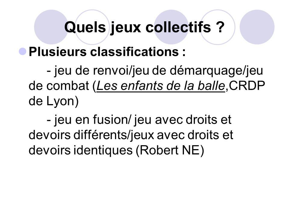 Quels jeux collectifs ? Plusieurs classifications : - jeu de renvoi/jeu de démarquage/jeu de combat (Les enfants de la balle,CRDP de Lyon) - jeu en fu