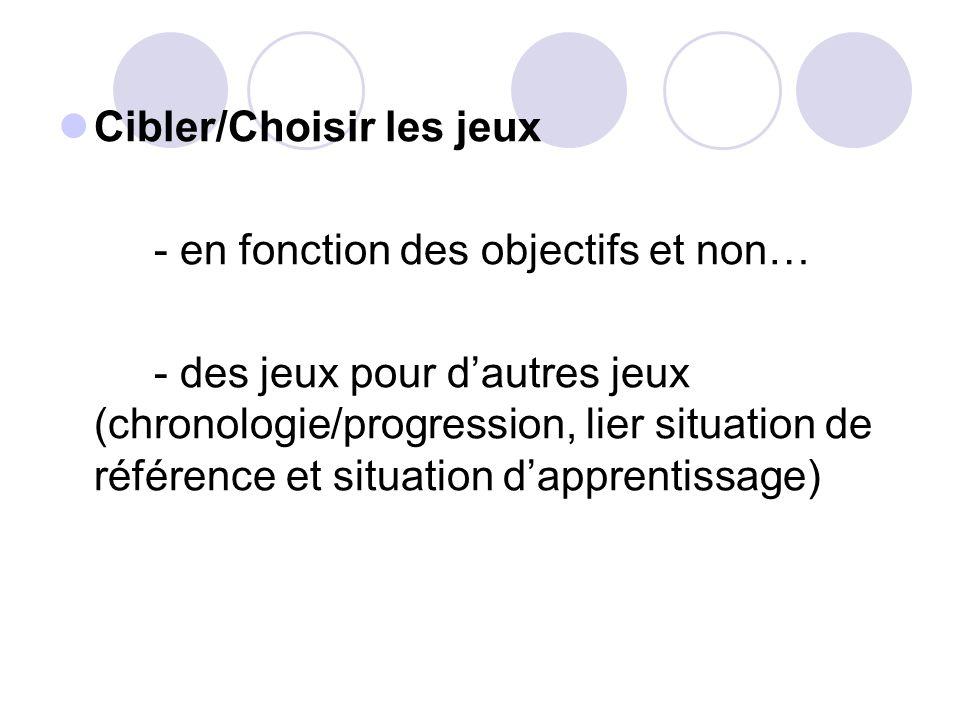 Cibler/Choisir les jeux - en fonction des objectifs et non… - des jeux pour dautres jeux (chronologie/progression, lier situation de référence et situ