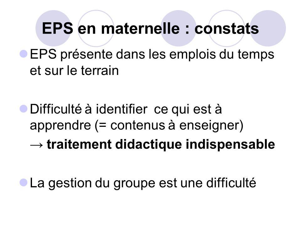 EPS en maternelle : constats EPS présente dans les emplois du temps et sur le terrain Difficulté à identifier ce qui est à apprendre (= contenus à ens