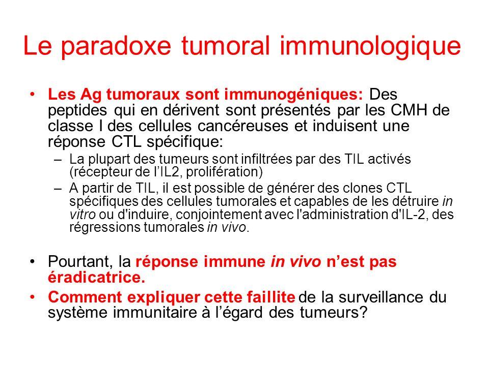 Le paradoxe tumoral immunologique Les Ag tumoraux sont immunogéniques: Des peptides qui en dérivent sont présentés par les CMH de classe I des cellule