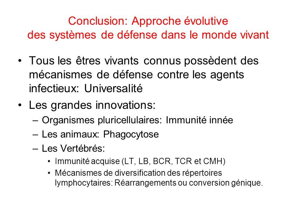 Conclusion: Approche évolutive des systèmes de défense dans le monde vivant Tous les êtres vivants connus possèdent des mécanismes de défense contre l