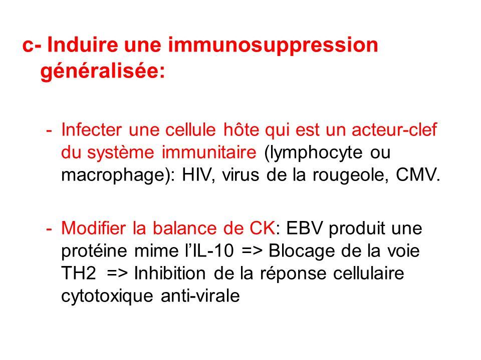 c- Induire une immunosuppression généralisée: -Infecter une cellule hôte qui est un acteur-clef du système immunitaire (lymphocyte ou macrophage): HIV