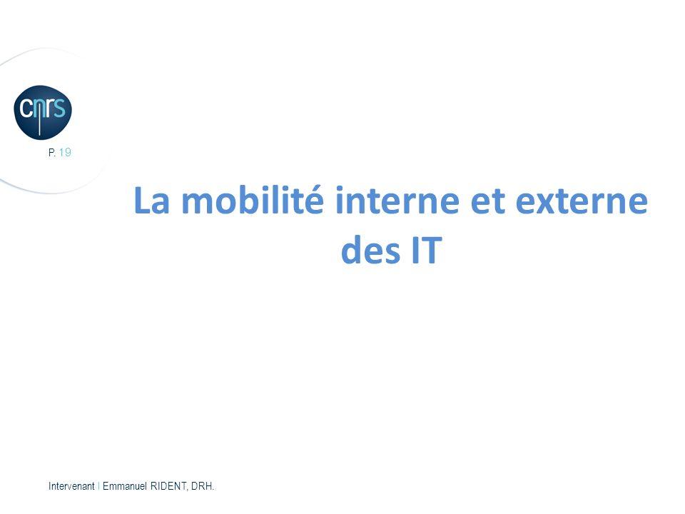 P. 19 Intervenant l Emmanuel RIDENT, DRH. La mobilité interne et externe des IT