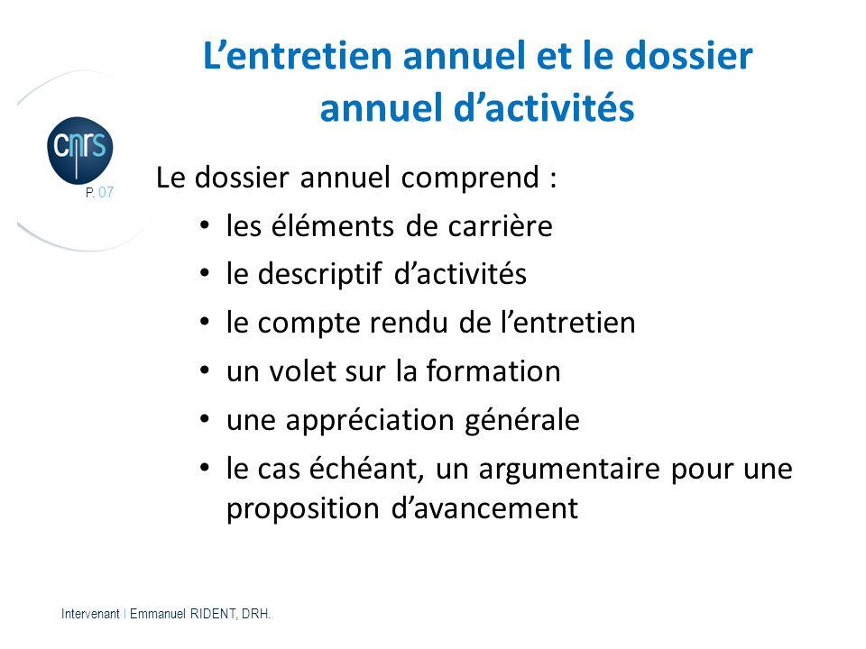 P.07 Intervenant l Emmanuel RIDENT, DRH.