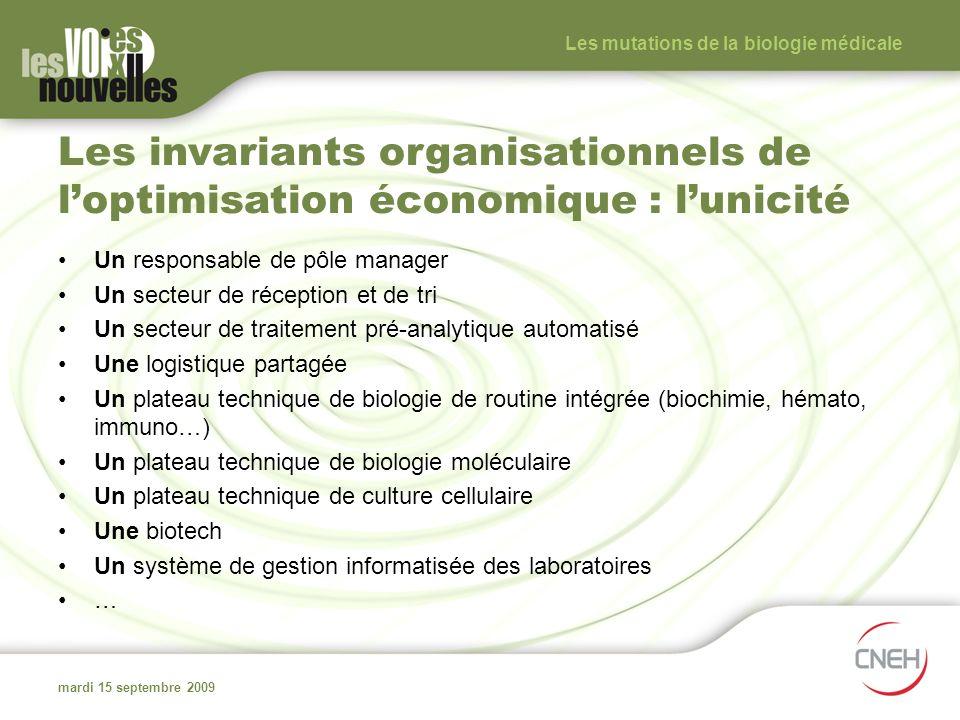 Les invariants organisationnels de loptimisation économique : lunicité Un responsable de pôle manager Un secteur de réception et de tri Un secteur de