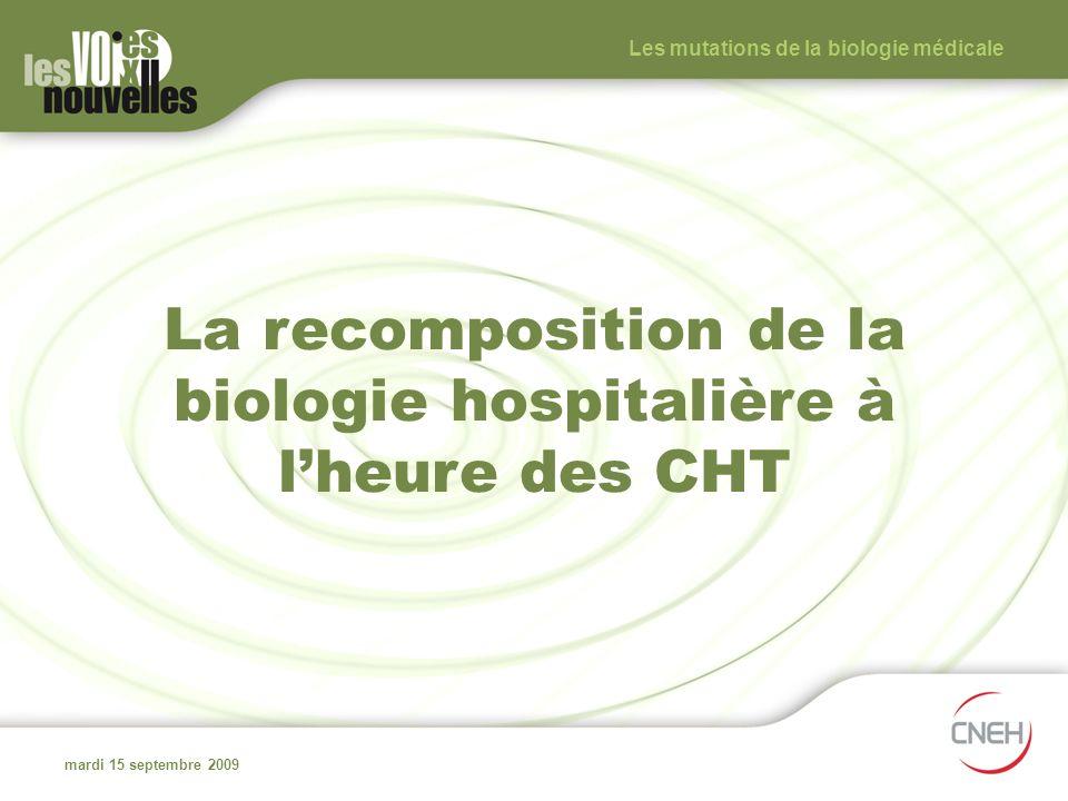 La recomposition de la biologie hospitalière à lheure des CHT mardi 15 septembre 2009 Les mutations de la biologie médicale