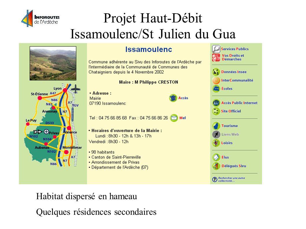 Projet Haut-Débit Issamoulenc/St Julien du Gua Habitat dispersé en hameau Quelques résidences secondaires