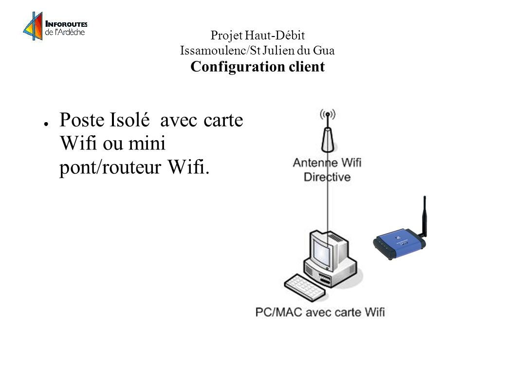 Projet Haut-Débit Issamoulenc/St Julien du Gua Configuration client Poste Isolé avec carte Wifi ou mini pont/routeur Wifi.