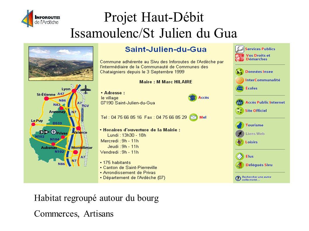 Projet Haut-Débit Issamoulenc/St Julien du Gua Habitat regroupé autour du bourg Commerces, Artisans