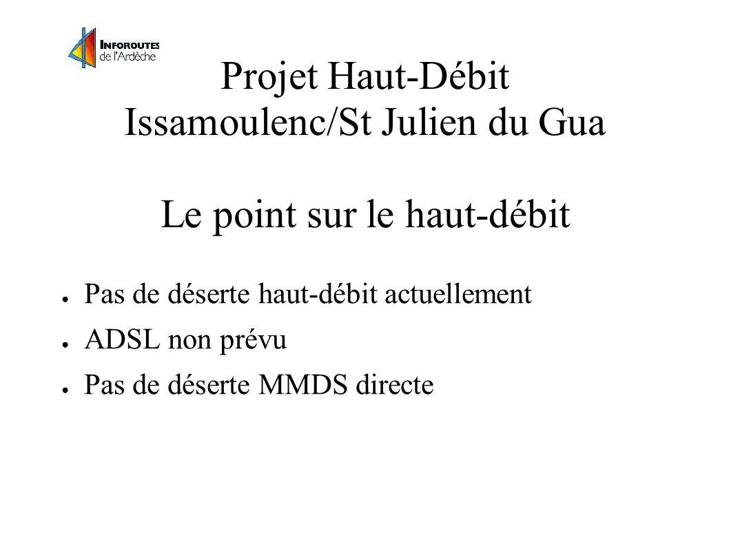 Projet Haut-Débit Issamoulenc/St Julien du Gua Le point sur le haut-débit Pas de déserte haut-débit actuellement ADSL non prévu Pas de déserte MMDS directe