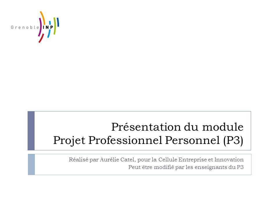 Présentation du module Projet Professionnel Personnel (P3) Réalisé par Aurélie Catel, pour la Cellule Entreprise et Innovation Peut être modifié par l