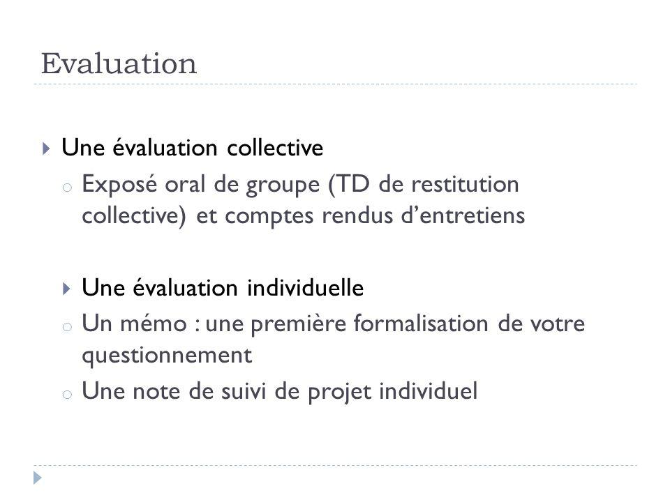 Evaluation Une évaluation collective o Exposé oral de groupe (TD de restitution collective) et comptes rendus dentretiens Une évaluation individuelle
