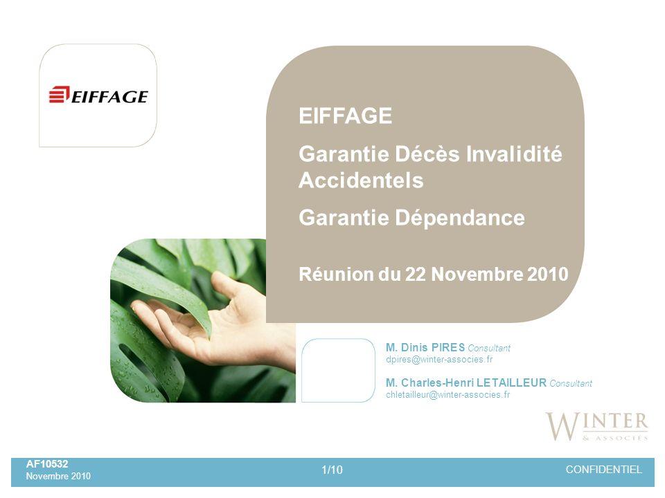 2/10 CONFIDENTIEL SOMMAIRE AF10532 Réunion du 22/11/2010 EIFFAGE Garantie Décès Invalidité Accidentel Garantie Dépendance 1.Contexte 2.Mécanisme 3.Les comptes du régime au 31/12/2009