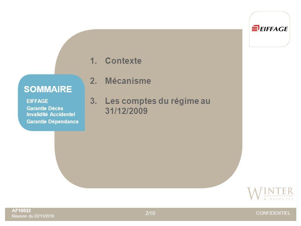 2/10 CONFIDENTIEL SOMMAIRE AF10532 Réunion du 22/11/2010 EIFFAGE Garantie Décès Invalidité Accidentel Garantie Dépendance 1.Contexte 2.Mécanisme 3.Les