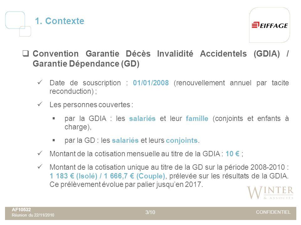 AF10532 Réunion du 22/11/2010 3/10 CONFIDENTIEL Convention Garantie Décès Invalidité Accidentels (GDIA) / Garantie Dépendance (GD) Date de souscriptio