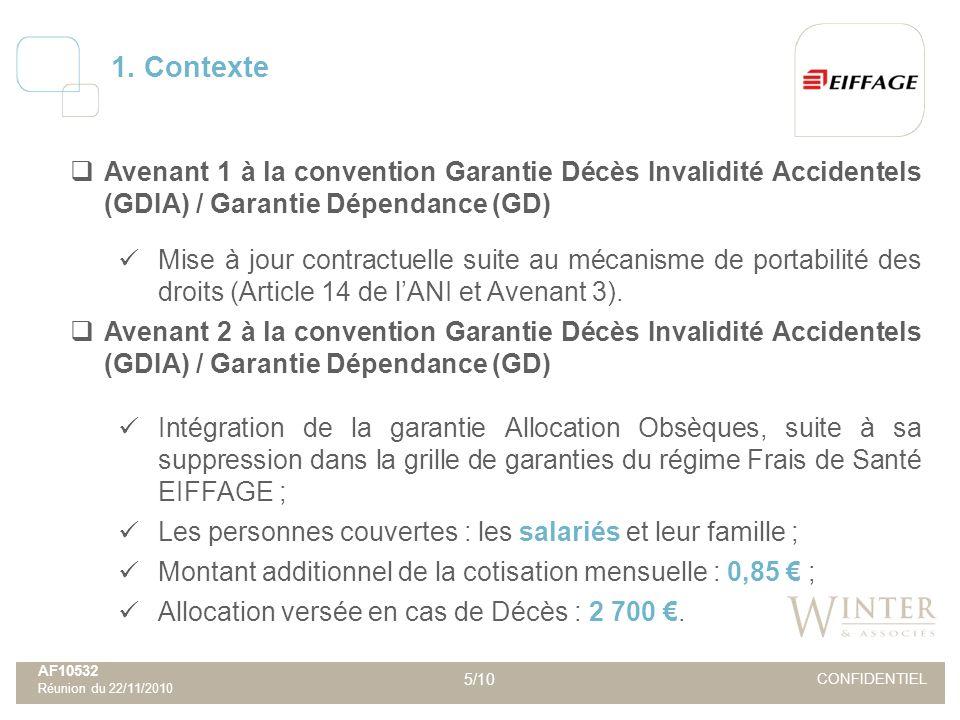 AF10532 Réunion du 22/11/2010 5/10 CONFIDENTIEL Avenant 1 à la convention Garantie Décès Invalidité Accidentels (GDIA) / Garantie Dépendance (GD) Mise