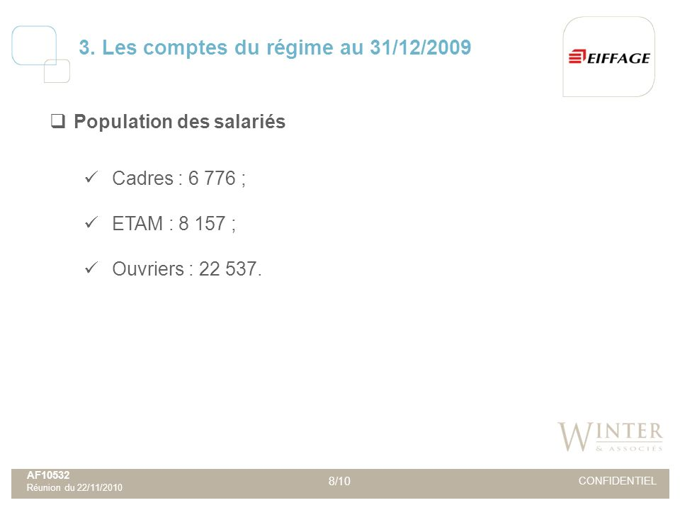 AF10532 Réunion du 22/11/2010 8/10 CONFIDENTIEL Population des salariés Cadres : 6 776 ; ETAM : 8 157 ; Ouvriers : 22 537. 3. Les comptes du régime au