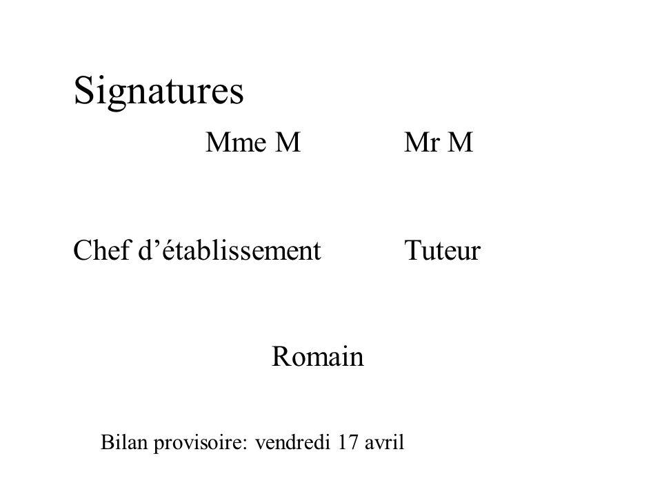 Signatures Mme MMr M Chef détablissementTuteur Romain Bilan provisoire: vendredi 17 avril