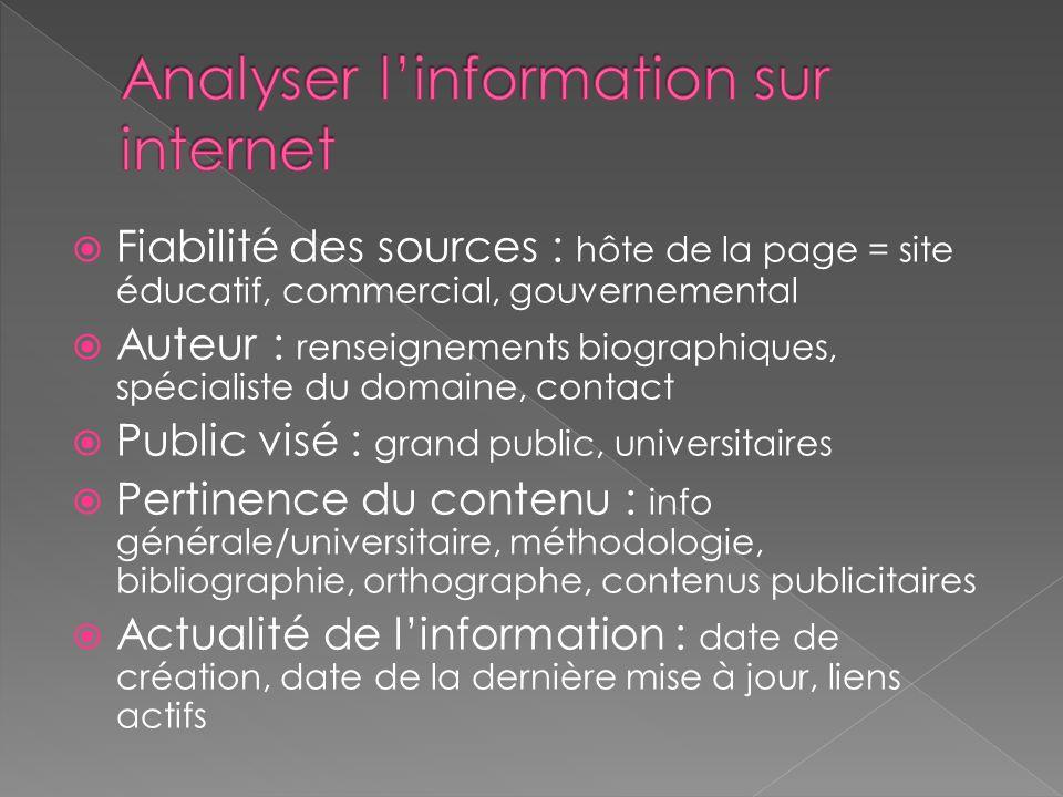 Fiabilité des sources : hôte de la page = site éducatif, commercial, gouvernemental Auteur : renseignements biographiques, spécialiste du domaine, con