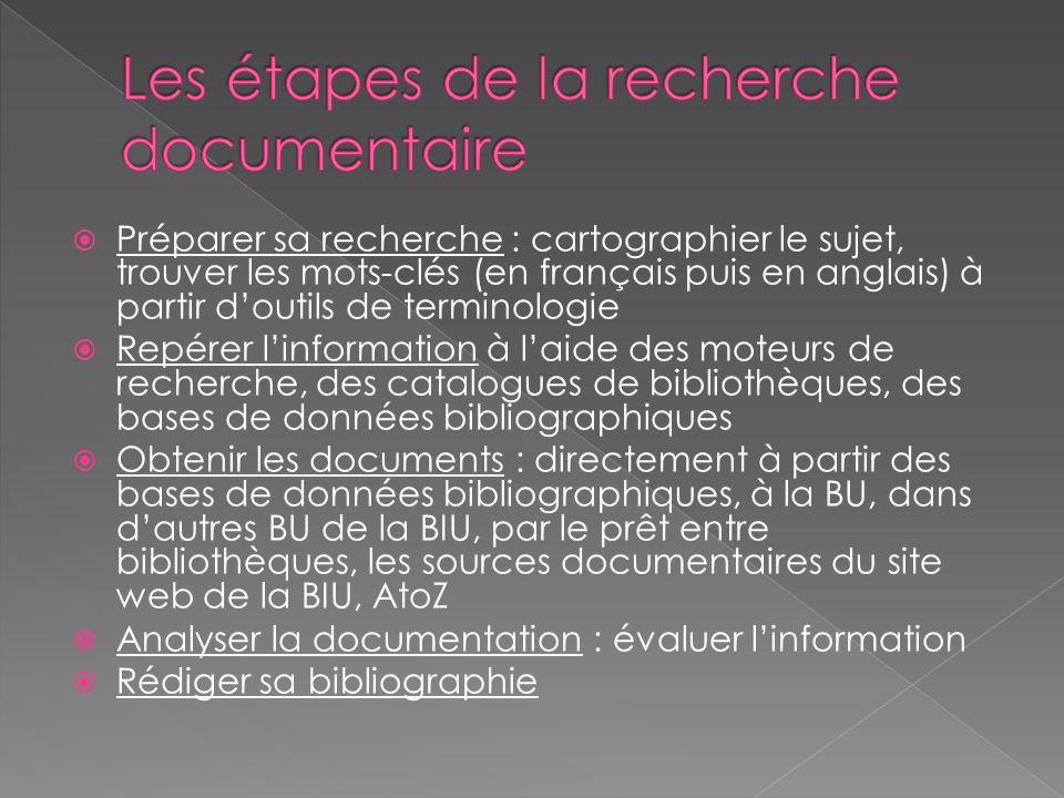 Préparer sa recherche : cartographier le sujet, trouver les mots-clés (en français puis en anglais) à partir doutils de terminologie Repérer linformat