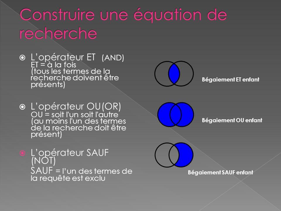 Lopérateur ET (AND) ET = à la fois (tous les termes de la recherche doivent être présents) Lopérateur OU(OR) OU = soit l'un soit l'autre (au moins l'u