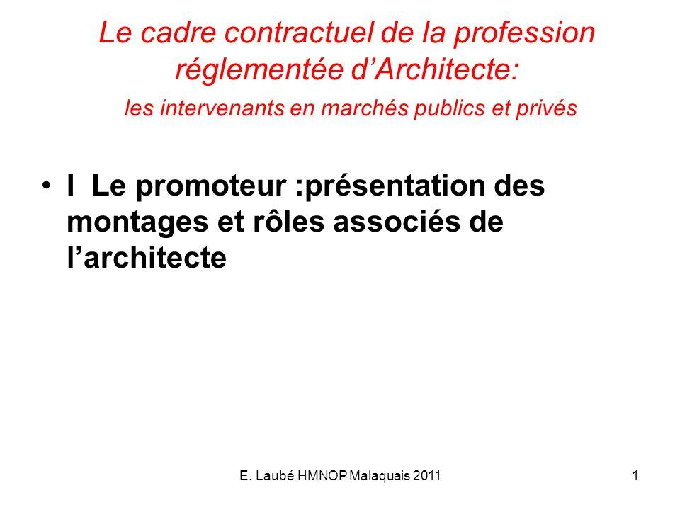 E. Laubé HMNOP Malaquais 20111 Le cadre contractuel de la profession réglementée dArchitecte: les intervenants en marchés publics et privés I Le promo