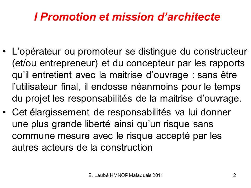 E. Laubé HMNOP Malaquais 20112 I Promotion et mission darchitecte Lopérateur ou promoteur se distingue du constructeur (et/ou entrepreneur) et du conc