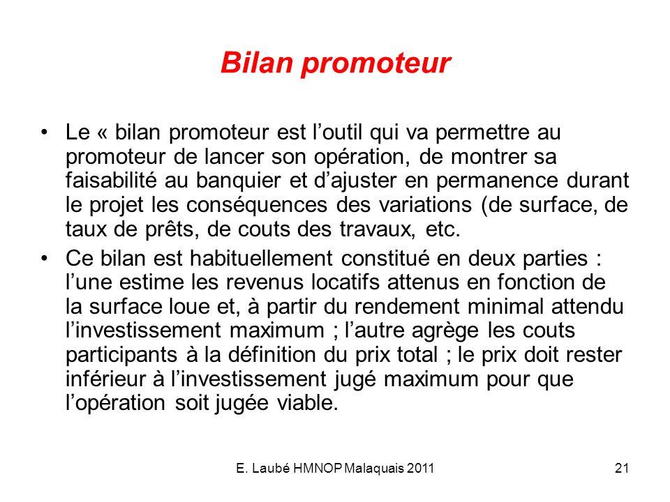 E. Laubé HMNOP Malaquais 201121 Bilan promoteur Le « bilan promoteur est loutil qui va permettre au promoteur de lancer son opération, de montrer sa f