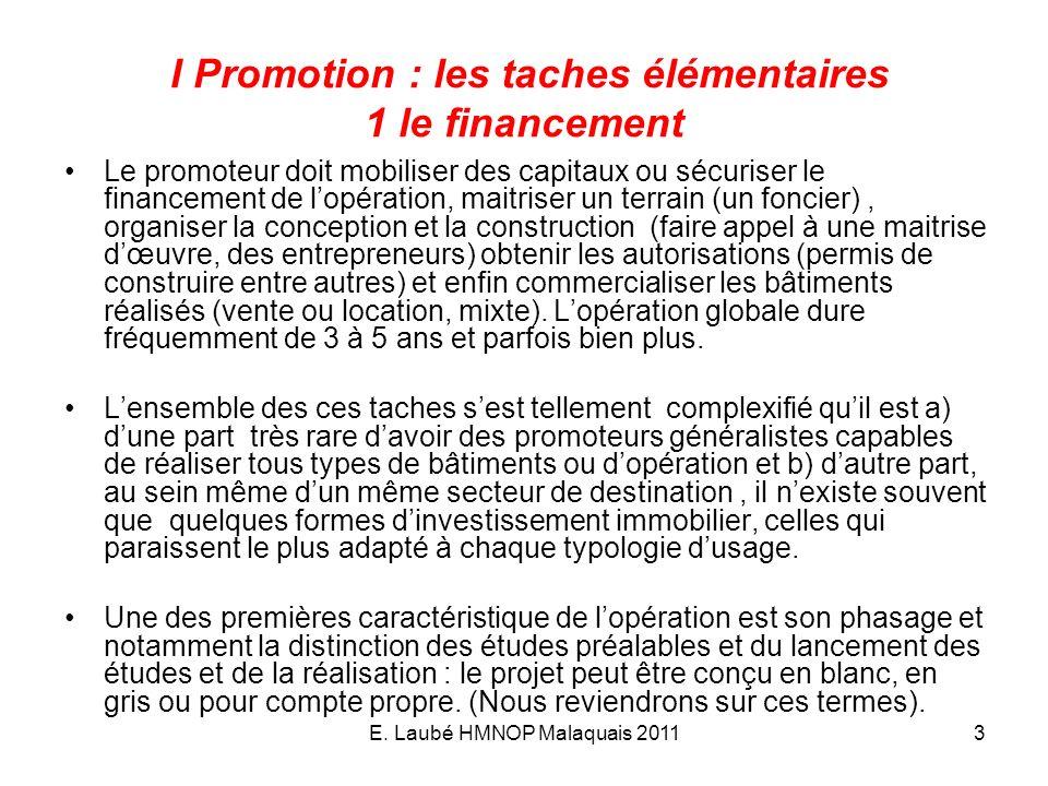 E. Laubé HMNOP Malaquais 20113 I Promotion : les taches élémentaires 1 le financement Le promoteur doit mobiliser des capitaux ou sécuriser le finance