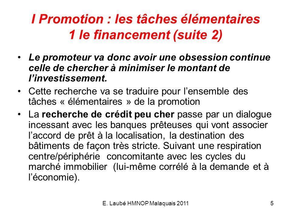 E. Laubé HMNOP Malaquais 20115 I Promotion : les tâches élémentaires 1 le financement (suite 2) Le promoteur va donc avoir une obsession continue cell