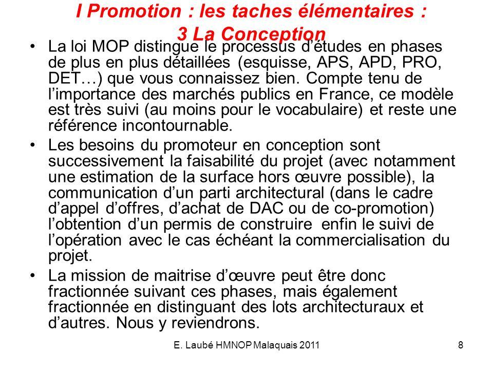 E. Laubé HMNOP Malaquais 20118 I Promotion : les taches élémentaires : 3 La Conception La loi MOP distingue le processus détudes en phases de plus en
