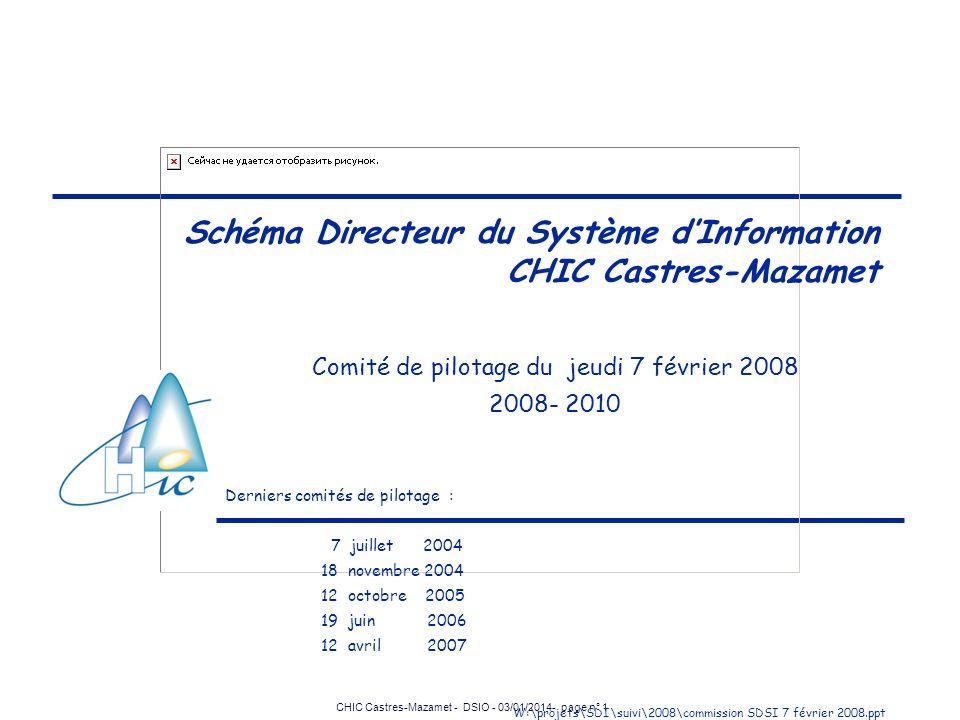 CHIC Castres-Mazamet - DSIO - 03/01/2014- page n° 1 Schéma Directeur du Système dInformation CHIC Castres-Mazamet Comité de pilotage du jeudi 7 févrie