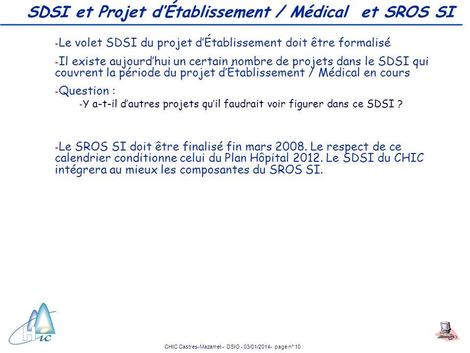 CHIC Castres-Mazamet - DSIO - 03/01/2014- page n° 10 SDSI et Projet dÉtablissement / Médical et SROS SI - Le volet SDSI du projet dÉtablissement doit