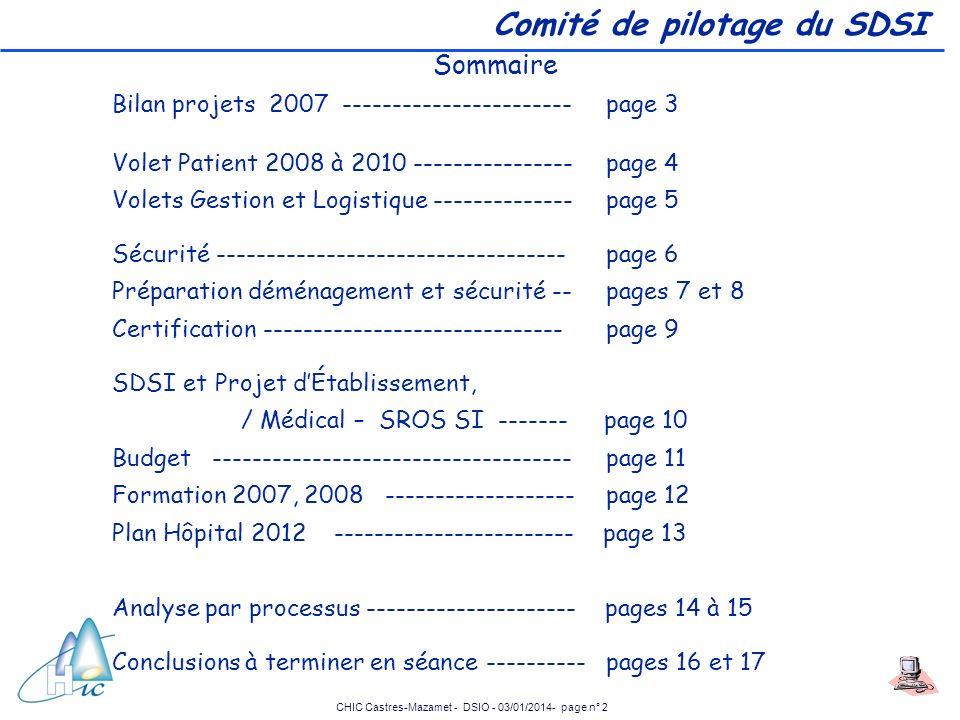 CHIC Castres-Mazamet - DSIO - 03/01/2014- page n° 2 Comité de pilotage du SDSI Sommaire Bilan projets 2007 ----------------------- page 3 Volet Patien