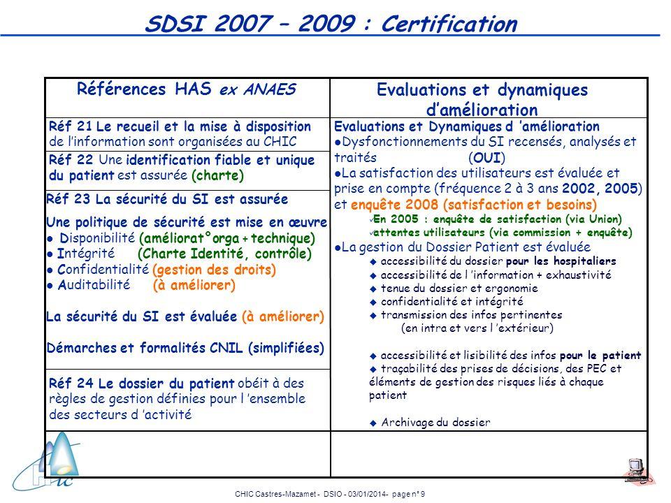 CHIC Castres-Mazamet - DSIO - 03/01/2014- page n° 9 SDSI 2007 – 2009 : Certification Evaluations et Dynamiques d amélioration l Dysfonctionnements du